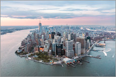 Aerial view of lower Manhattan with One World Trade Center at sunset, New York city, USA