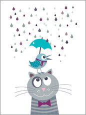 Bird and cat love rainy day