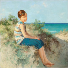 Girl in the dunes by the North Sea beach on Sylt