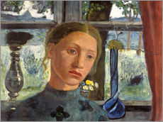 A girl's head in front of a window