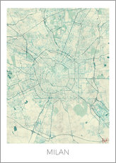Milan Map Blue