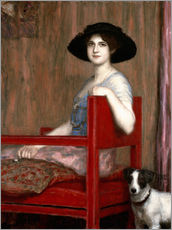 Mary von Stuck in a red chair