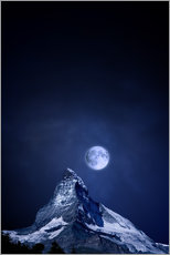 Matterhorn in a full moon night