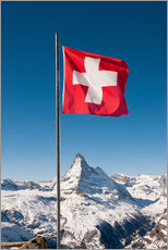 Matterhorn with swiss flag. Zermatt, Switzerland.