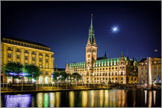 Moon over the town hall in Hamburg