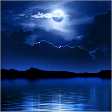Fantasy moon and clouds over water