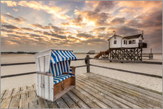 In the morning the North Sea beach of Sankt Peter Ording