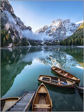 Early morning on Lake Braies - Dolomite Alps Italy