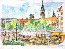 Munich Food Market Square Day in Summer Aquarell