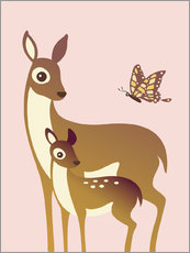 Mom And Baby Deer With Butterfly