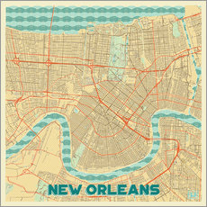 New Orleans Map Retro