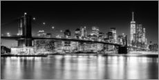 New York City Skyline with Brooklyn Bridge (monochrome)