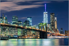 New York Skyline with Brooklyn Bridge by Night