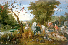 Noah leads the animals into the ark