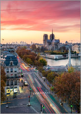 Notre Dame and city of Paris at dusk, France