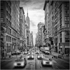NYC 5th Avenue Traffic Monochrome
