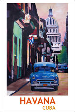 Cuban Oldtimer Street Scene in Havana Cuba with Buena Vista Feeling Poster