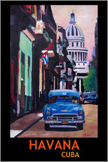 Blue Oldtimer Street Scene in Havana Cuba with Buena Vista Feeling Poster