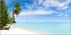 Palm beach panorama in Tahiti, French Polynesia