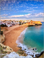 Panoramic of Carvoeiro at sunset, Algarve, Portugal