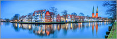 Panoramic of Lubeck reflected in river Trave, Germany
