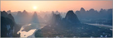 Panoramic of famous karst peaks at sunset, Guilin, China