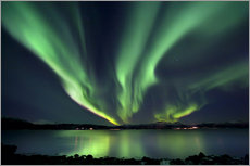 Aurora Borealis over Tjeldsundet in Troms County