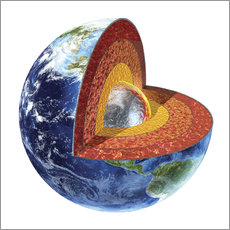 Section of the planet Earth with inner core