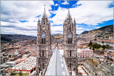 Quito Old Town seen from the roof of La Basilica Church, UNESCO World Heritage Site, Quito, Ecuador,