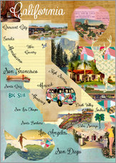 Vintage California Map Collage Poster on wooden background