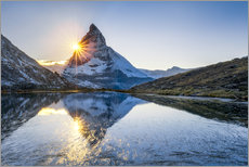 Riffelsee and Matterhorn in the Swiss Alps