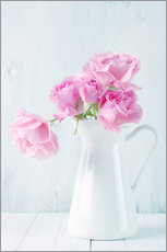 Pink roses in white jug