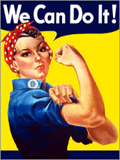 Rosie The Riveter vintage war poster from World War Two