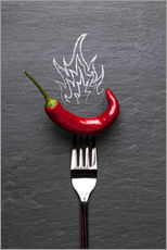 red chili peppers with fire