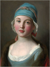 Russian girl in a blue dress and headdress
