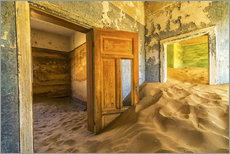 Sand in the premises of an abandoned house