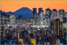 Shinjuku city view at night with Mount Fuji in the background