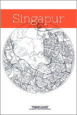 Singapore map city black and white