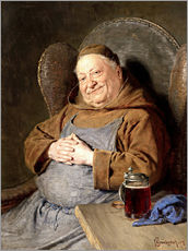 Sitting monk with tankards