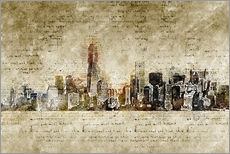 Skyline of New York in modern abstract vintage look