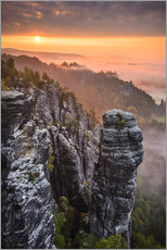 Sunrise in the Saxon Switzerland at the so called Hellhound