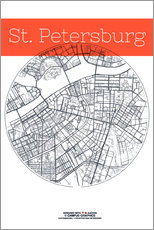 St Petersburg map city black and white