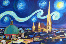 Starry Night in Vienna Austria   Saint Stephan Cathedral Van Gogh Inspirations