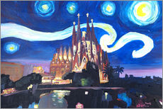 Starry Night in Barcelona   Van Gogh Inspirations with Sagrada Familia