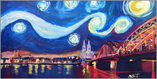 Starry Night in Cologne - Van Gogh inspirations on Rhine with Cathedral and Hohenzollern Bridge