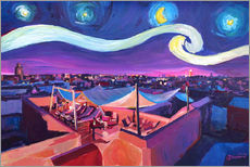 Starry Night in Marrakech   Van Gogh Inspirations on Fna Market Place in Morocco