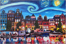 Starry Night over Amsterdam Canal with Van Gogh Inspirations