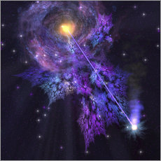A shooting star radiates out from a black hole in the center of a galaxy.
