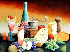 Stil life with coffee grinder, fruits and cheese