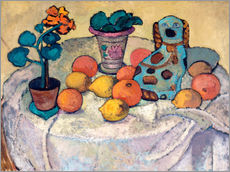 Still life with oranges and stoneware dog